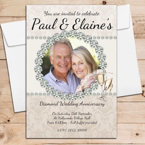 10 Personalised 60th Diamond Wedding Anniversary Invitations N21